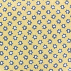 Tissu velours minkee ras Paquerettes fond jaune x 10cm