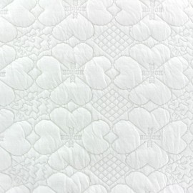 Tissu Damassé Matelassé Trèfle écru x 10cm