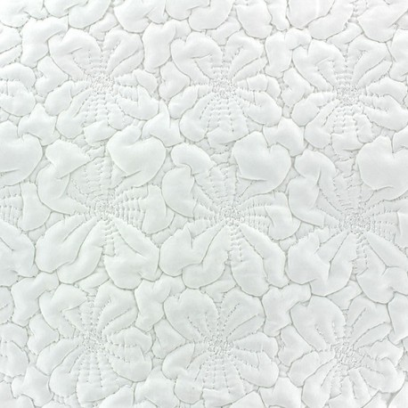 Embroidered Flowers Quilted Fabric - Ecru x 10cm