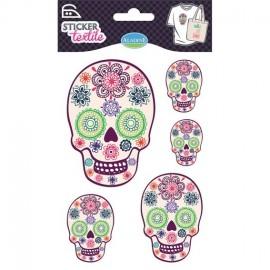 Sticker textile Tête de mort fleurie