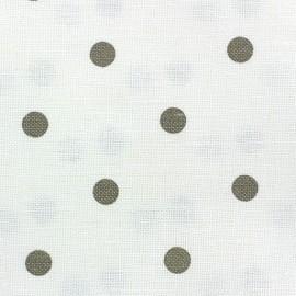 ♥ Coupon 130 cm X 150 cm ♥ Tissu toile lin Lucette pois lin fond blanc