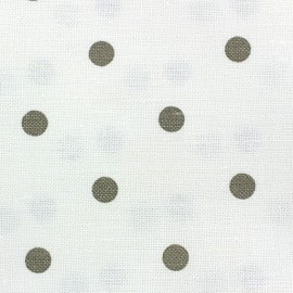 Linen Canvas Fabric - Lucette dots linen/white x 10 cm