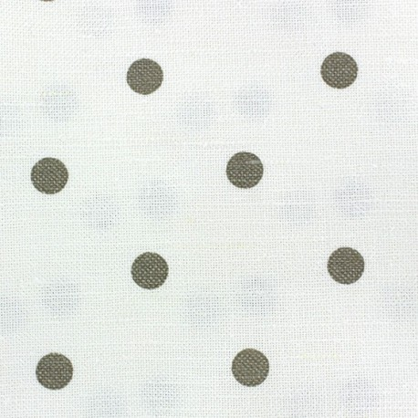 Tissu toile lin Lucette pois lin fond blanc