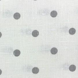 Tissu toile lin Lucette pois gris fond blanc x 10 cm