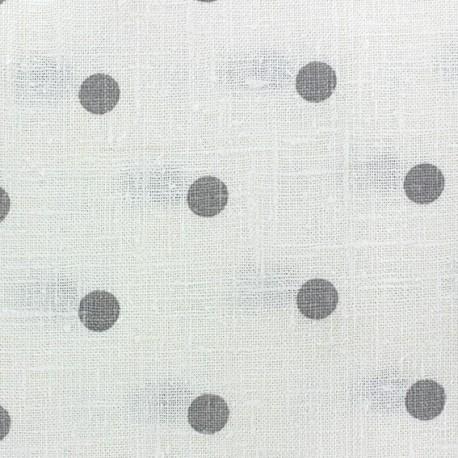 Linen Canvas Fabric - Lucette dots grey/white x 10 cm