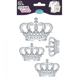 "Glitter ""Crown"" textile stickers - silver"