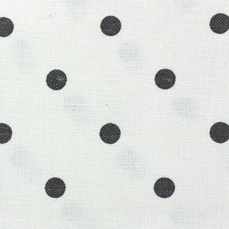 Linen Canvas Fabric - Lucette dots anthracite/white x 10 cm