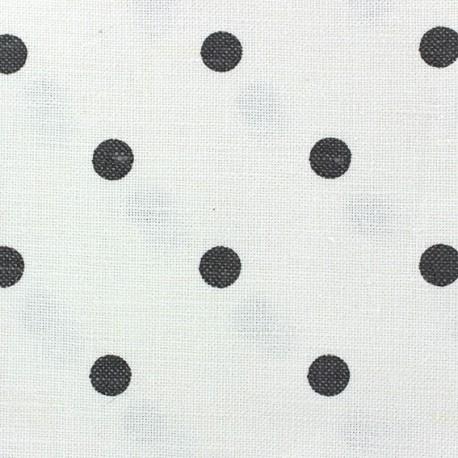 Tissu toile lin Lucette pois anthracite fond blanc x 10 cm