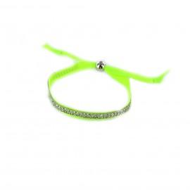 Ribbon and rhinestones bracelet - fluorescent green