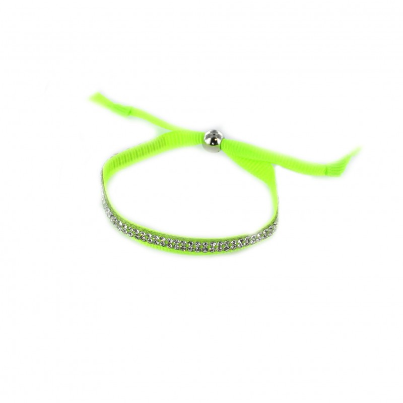 ribbon and rhinestones bracelet fluorescent green ma petite mercerie. Black Bedroom Furniture Sets. Home Design Ideas