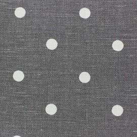 Tissu toile lin Lucette pois blanc sur anthracite x 10 cm