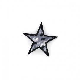 Camouflage Star iron-on applique - grey