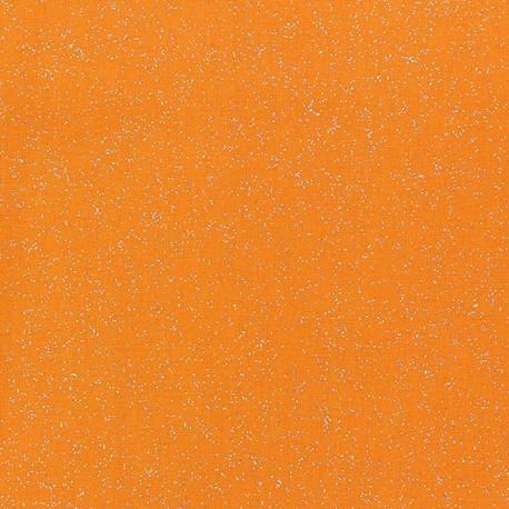 Tissu enduit paillettes orange x 10cm