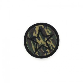 Camouflage Star badge iron-on applique - green