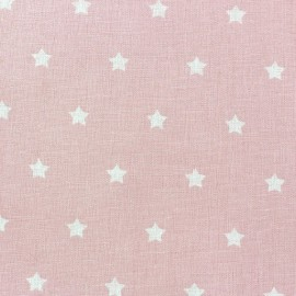 Tissu coton cretonne Stars fond rose x 10cm