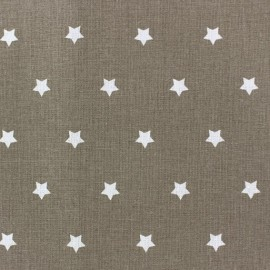 Cretonne Cotton Fabric - Stars taupe x 10cm