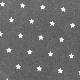 Cretonne Cotton Fabric - Stars anthracite x 10cm