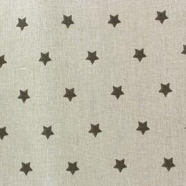 Tissu coton cretonne Stars taupe fond beige x 10cm