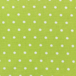 Cretonne Cotton Fabric - Drop white/lime x 10cm