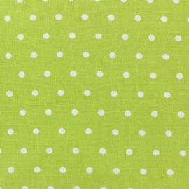 Tissu coton cretonne Drop blanc fond anis x 10cm