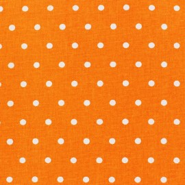 Tissu coton cretonne Drop blanc fond orange x 10cm