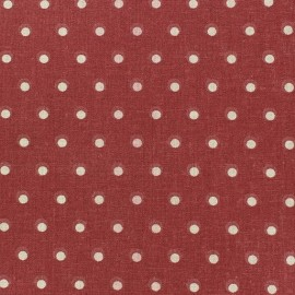 Tissu coton cretonne Drop beige fond rouge x 10cm