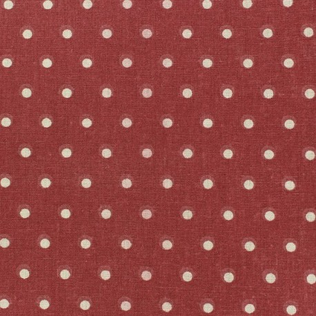 Cretonne Cotton Fabric - Drop beige/red x 10cm