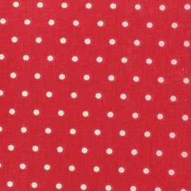 Tissu coton cretonne Drop ivoire fond rouge x 10cm