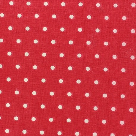 Cretonne Cotton Fabric - Drop ivory/red x 10cm