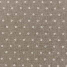 Tissu coton cretonne Drop beige fond taupe x 10cm