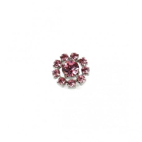 Rhinestone Flower button - pink