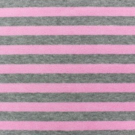 Velvet stripes towelling jersey fabric - pink/grey x 10cm