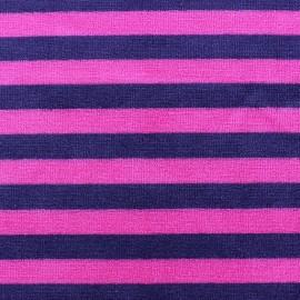Tissu Velours éponge jersey Rayures violet/fuchsia x 10cm