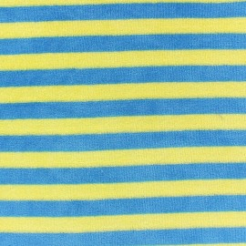 Tissu Velours éponge jersey Rayures anis/bleu x 10cm