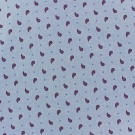 ♥ Only one piece 150 cm X 150 cm ♥  Light Denim Chambray Fabric - Paisley purple