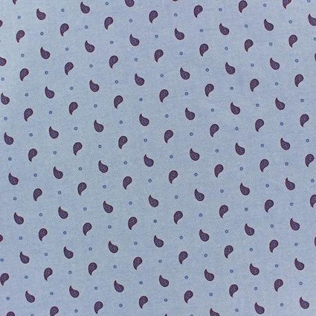 Light Denim Chambray Fabric - Paisley purple x 10cm