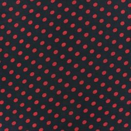 Tissu Mousseline little dots rouge fond noir x 50cm