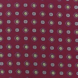 Tissu crêpe Lavallière fond carmin x 10cm