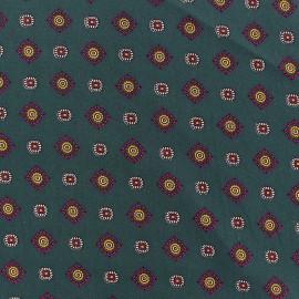Tissu crêpe Lavallière fond vert sapin x 10cm