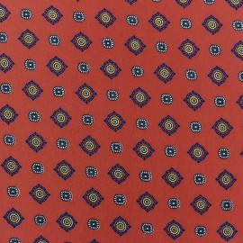 Tissu crèpe Lavallière fond brique x 10cm
