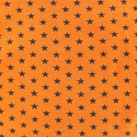 Stars Jersey Fabric - Black / Orange x 10cm