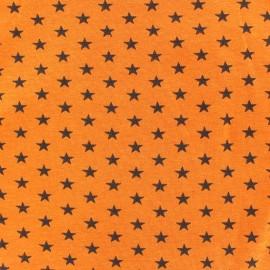 Tissu jersey Poppy Stars noire fond orange x 10cm