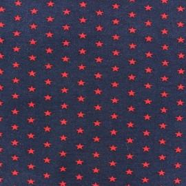 Tissu jersey Poppy Stars rouge fond marine x 10cm