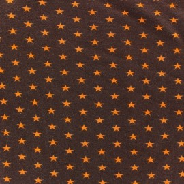 Tissu jersey Poppy Stars orange fond marron x 10cm