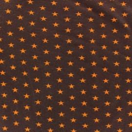 Tissu jersey Poppy Stars orange fond marron x 10cm