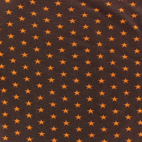Tissu jersey étoile orange fond marron x 10cm