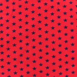 Tissu jersey Poppy Stars marine fond rouge x 10cm