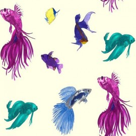 ♥ Coupon 200 cm X 150 cm ♥ Percale Cotton Fabric - Glowing Fish Cream
