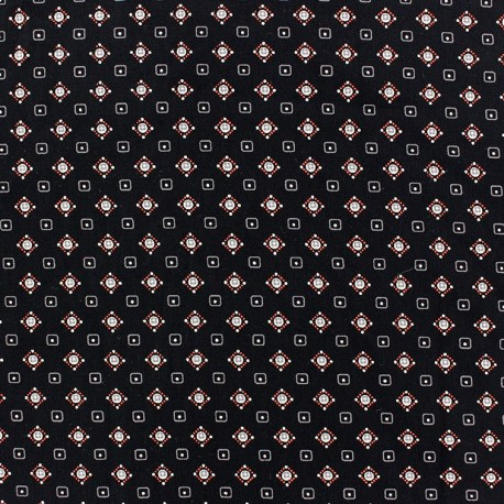 Tissu crèpe petites cubes fond noir x 10cm