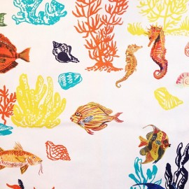 ♥ Coupon 150 cm X 150 cm ♥ Percale Cotton Fabric - Sous la mer Cream